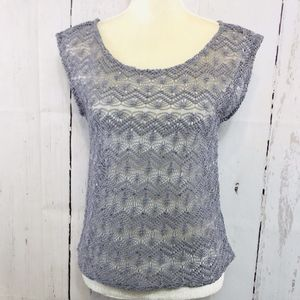 EXPRESS SHORT SLEEVE LACE AND SEQUIN BLOUSE SIZE M